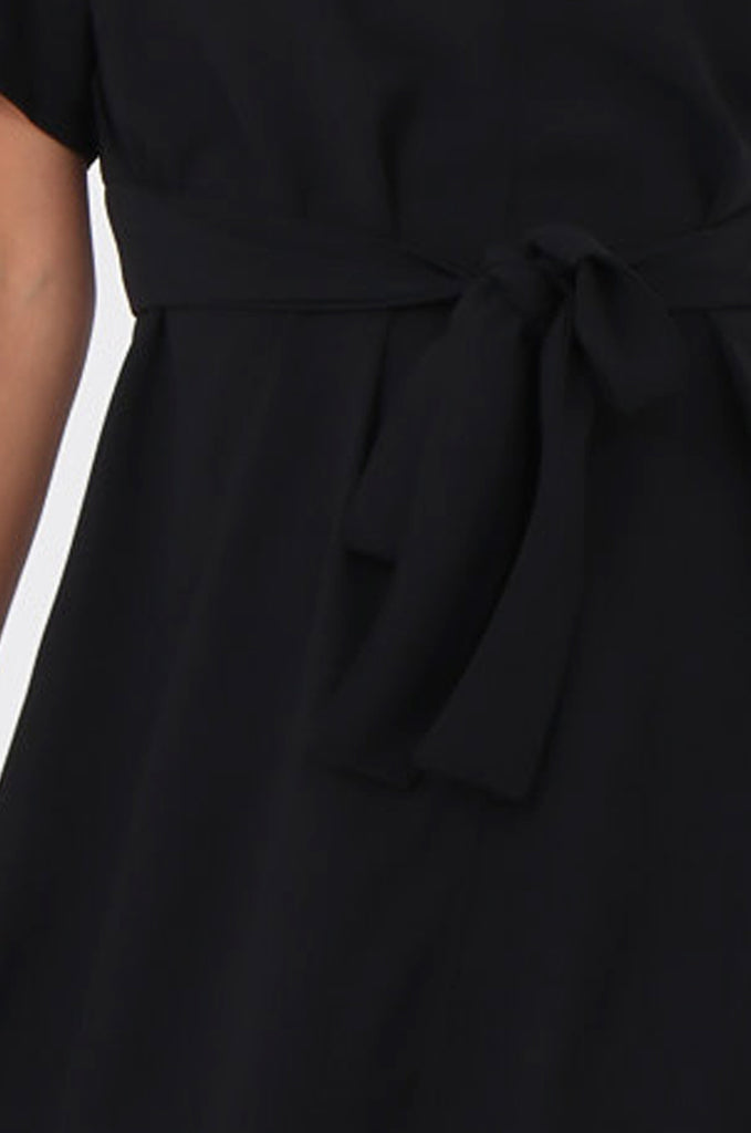 SWE1588-BLACK SHORT SLEEVE TIE WAIST DRESS view 5