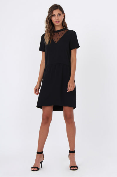 MESH INSET FIT & FLARE DRESS