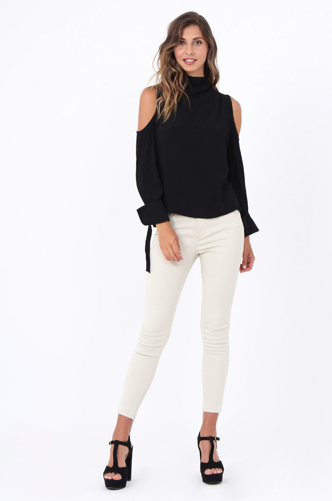 HIGH NECK COLD SHOULDER SHIRT