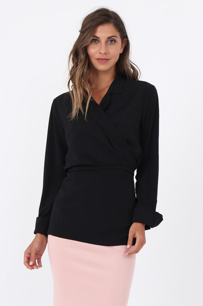 SWE1601-BLACK COLLARED WRAP SHIRT