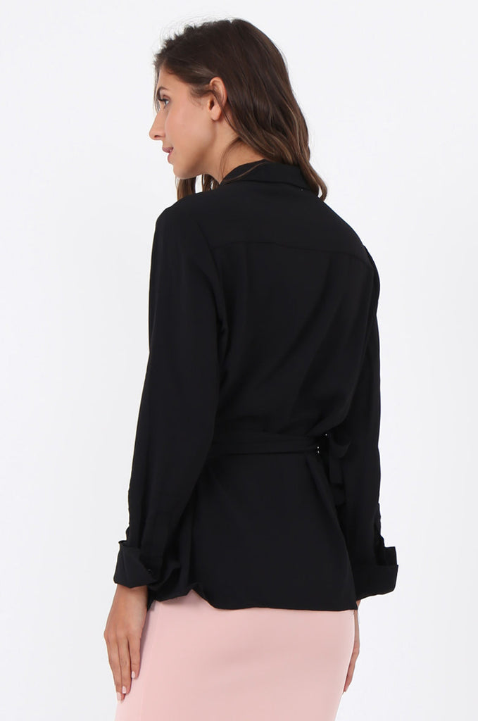 SWE1601-BLACK COLLARED WRAP SHIRT view 2