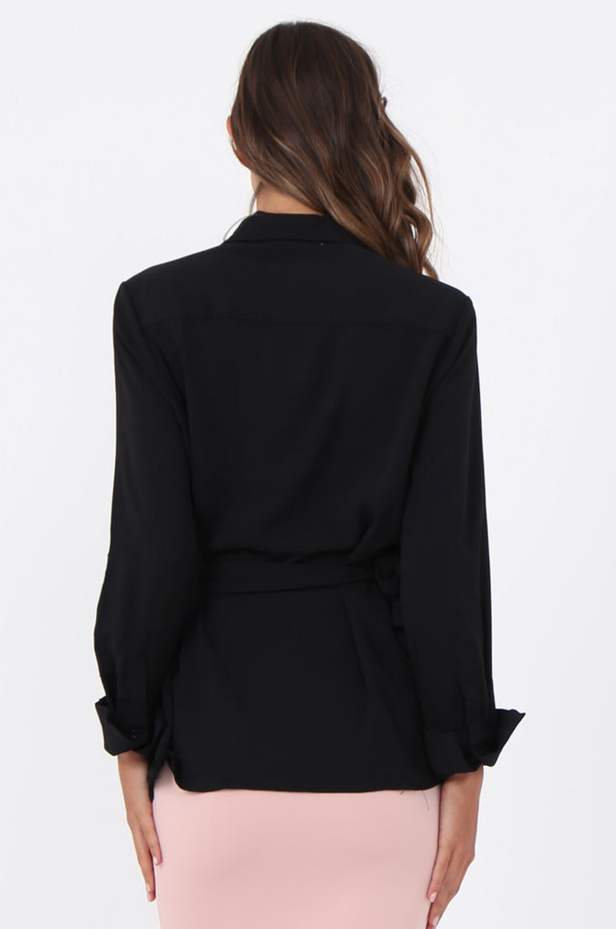 SWE1601-BLACK COLLARED WRAP SHIRT view 3
