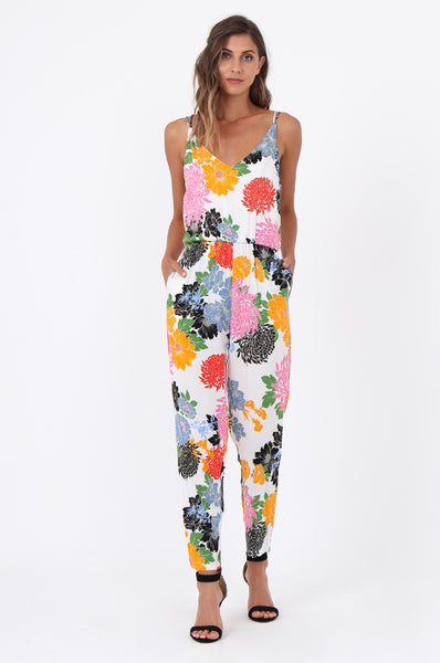 BOLD FLORAL STRAPPY JUMPSUIT
