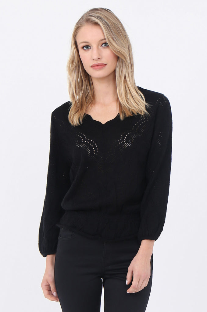 CROCHET V-NECK GATHER HEM JUMPER