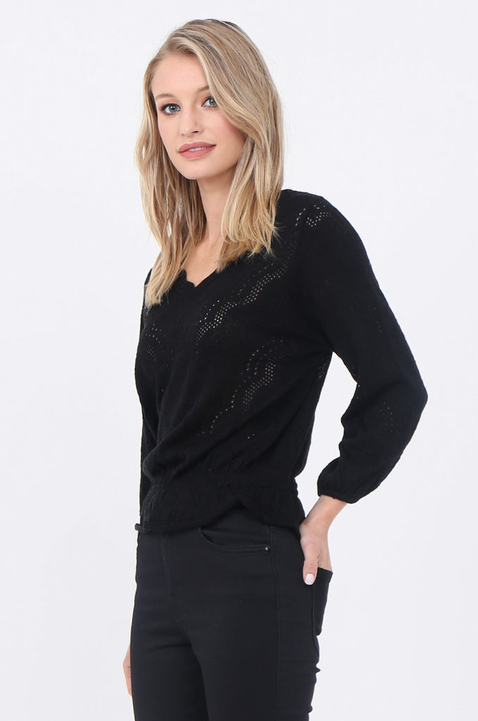SWE1681-BLACK CROCHET V-NECK GATHER HEM JUMPER