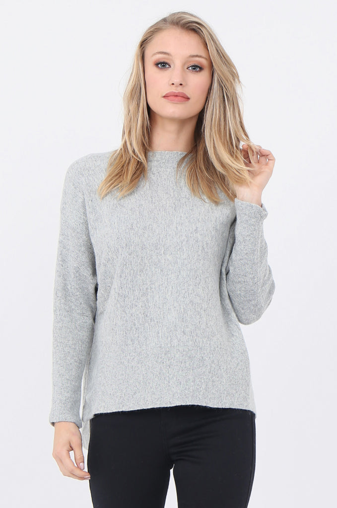 SWE1718-GREY BOATNECK BATWING JUMPER