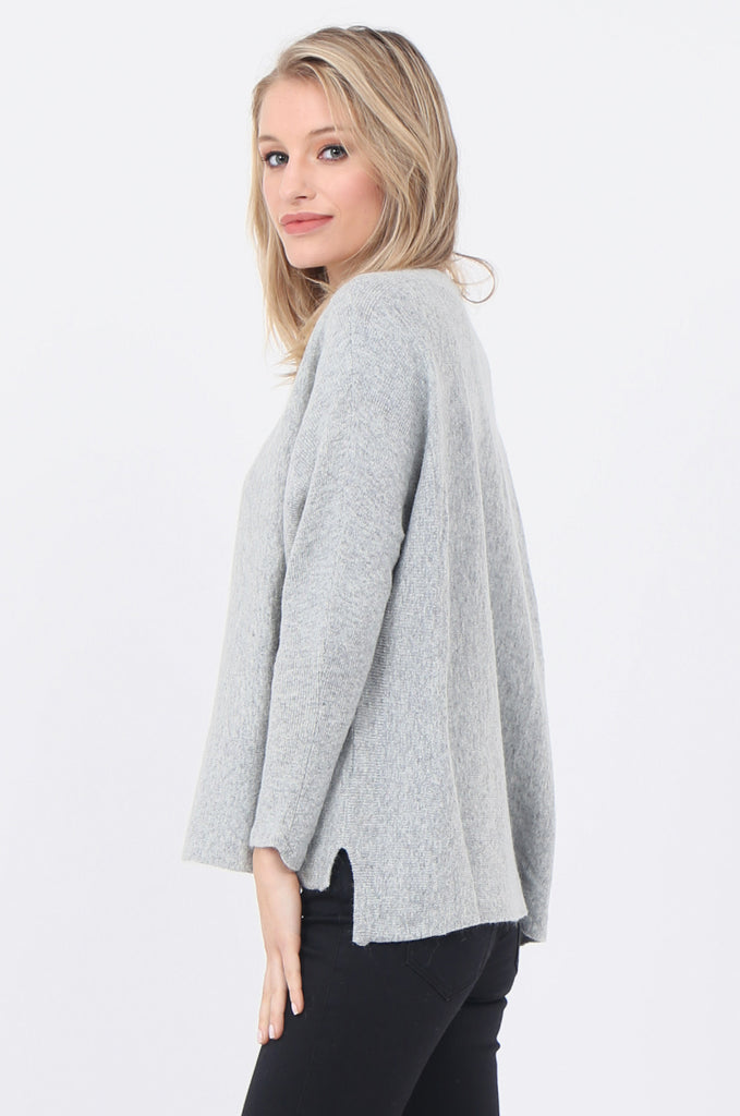 SWE1718-GREY BOATNECK BATWING JUMPER view 2