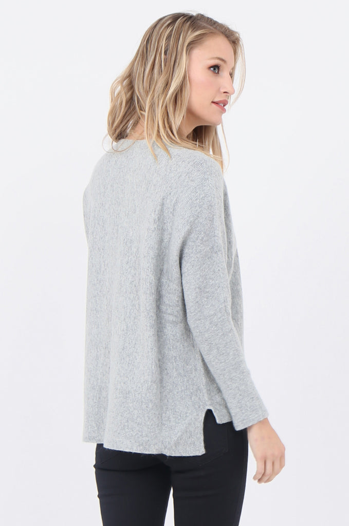 SWE1718-GREY BOATNECK BATWING JUMPER view 3