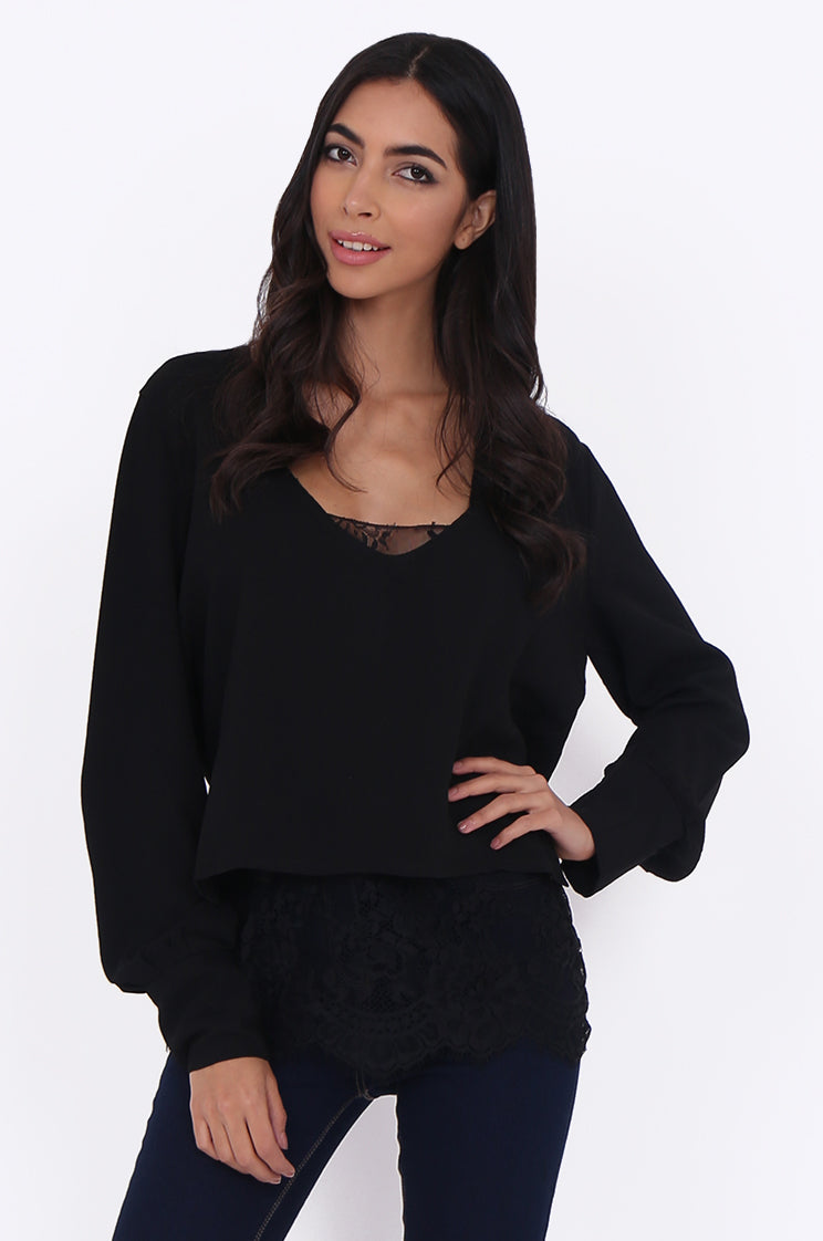swe1767-black lace cami with overshirt - l