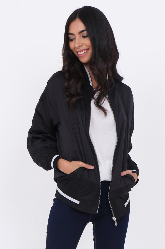 SWE1776-BLACK SATIN METALLIC TRIM BOMBER JACKET