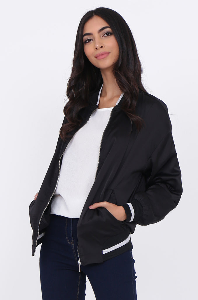 SWE1776-BLACK SATIN METALLIC TRIM BOMBER JACKET view 2