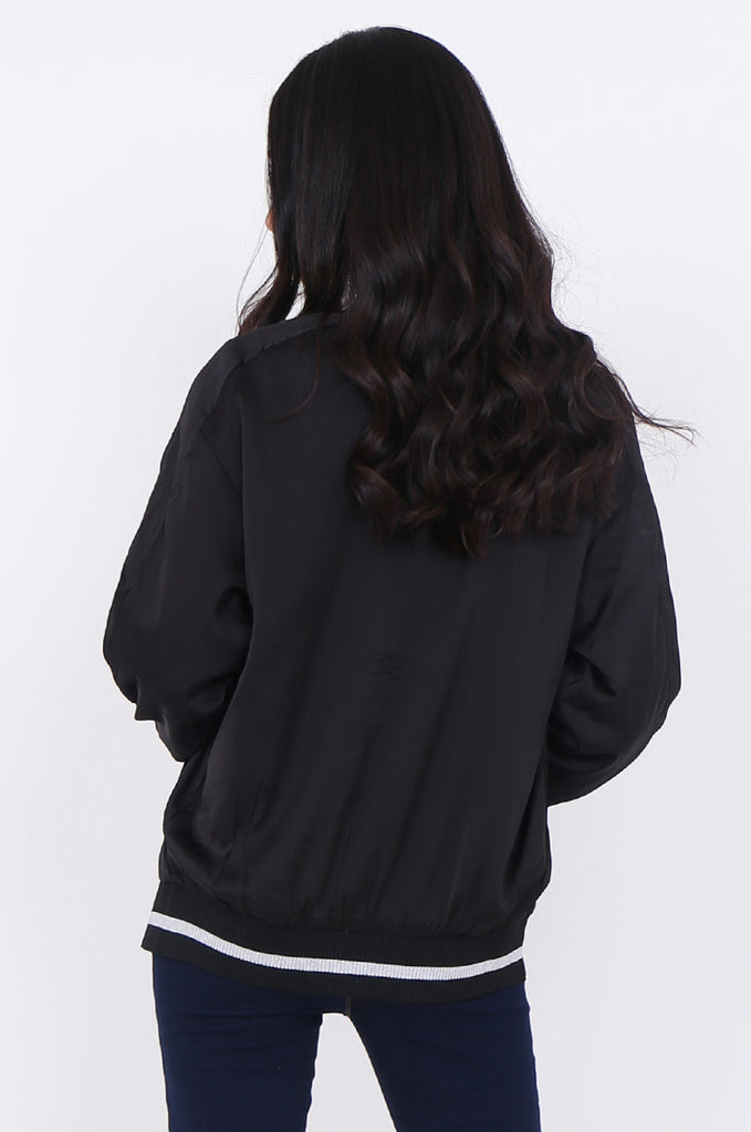 SWE1776-BLACK SATIN METALLIC TRIM BOMBER JACKET view 3