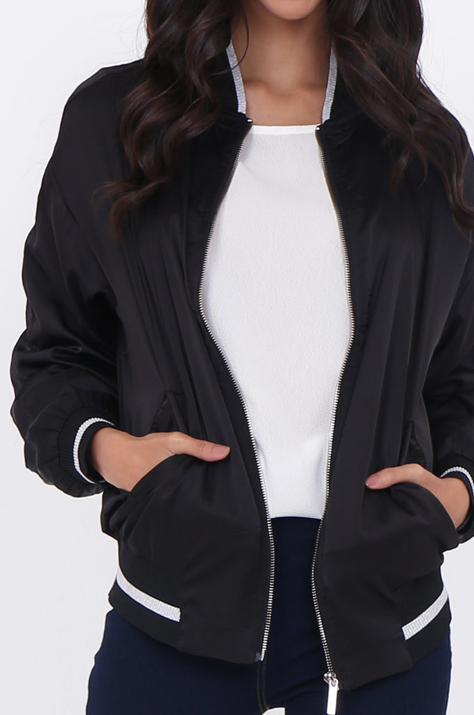 SWE1776-BLACK SATIN METALLIC TRIM BOMBER JACKET view 5