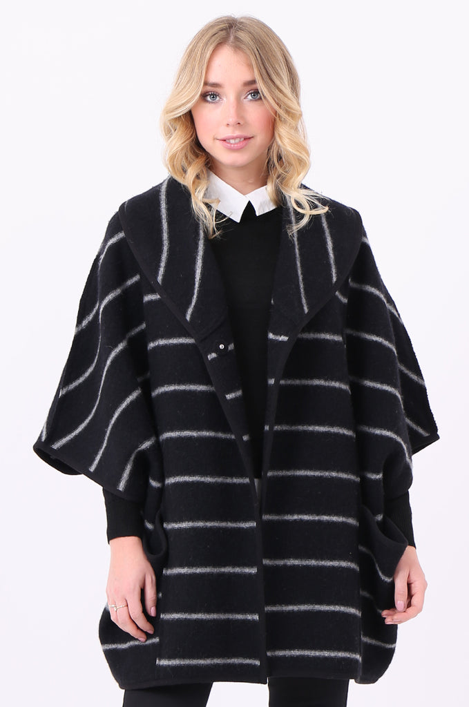 SWE1991-BLACK WOOL STRIPED PONCHO COAT view 2