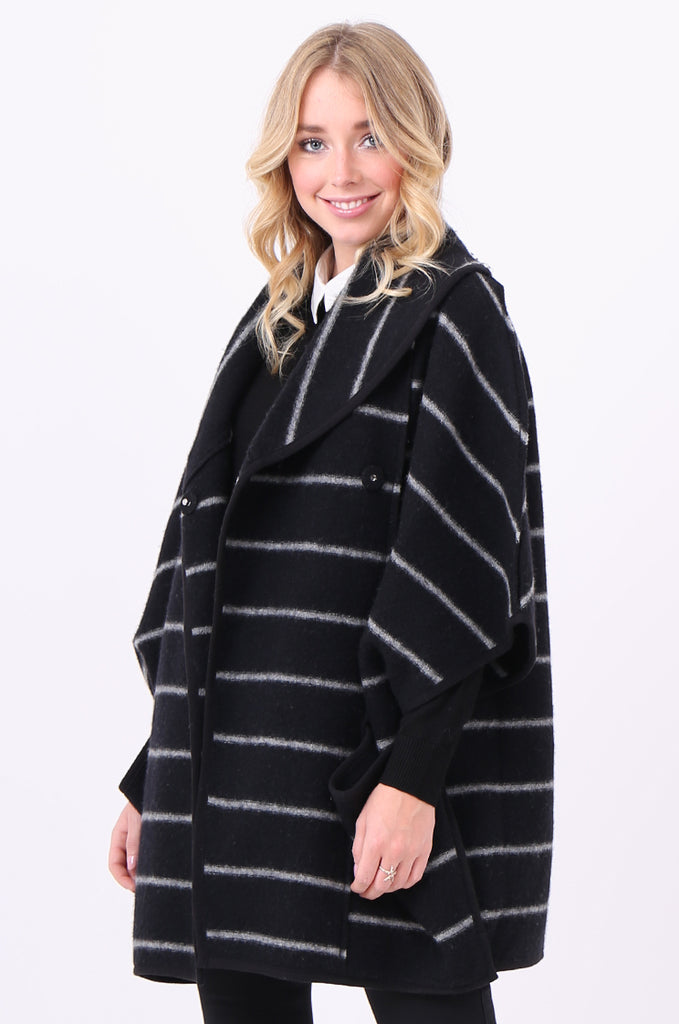 SWE1991-BLACK WOOL STRIPED PONCHO COAT view 3