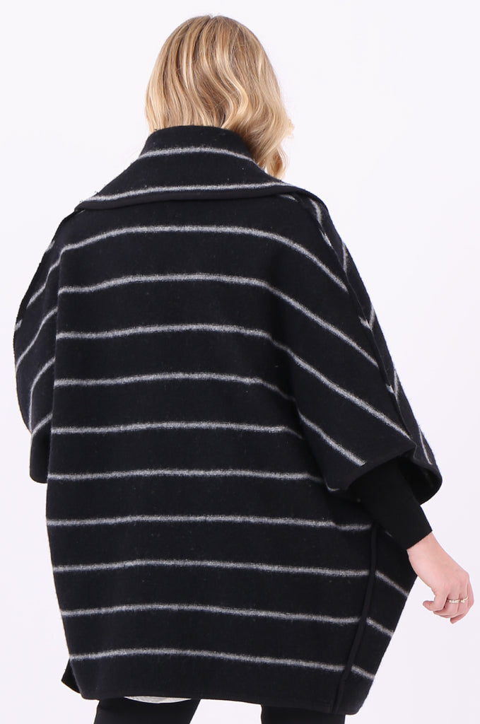 SWE1991-BLACK WOOL STRIPED PONCHO COAT view 4