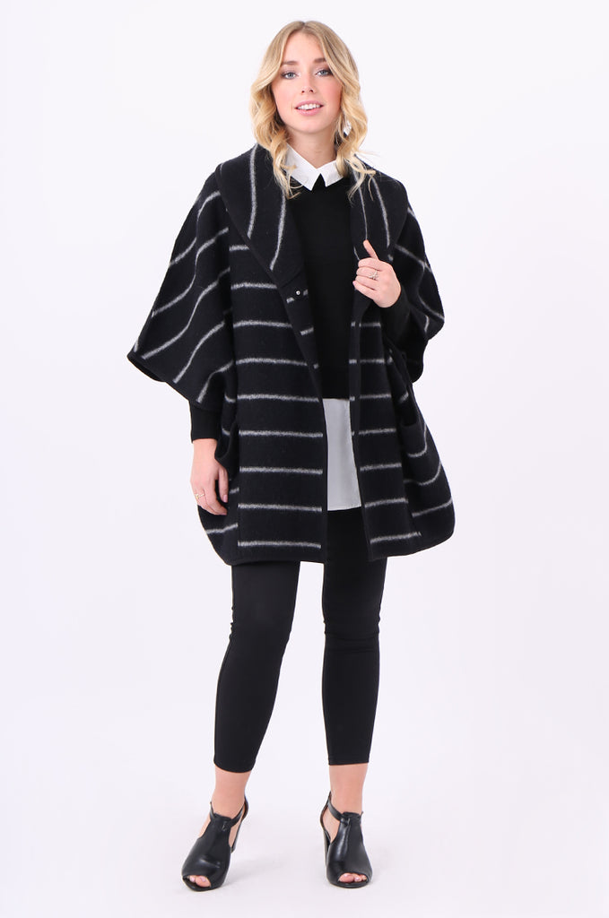 SWE1991-BLACK WOOL STRIPED PONCHO COAT