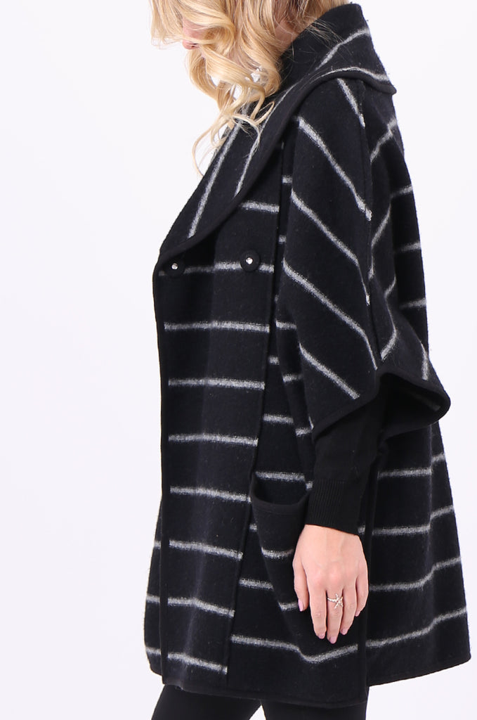SWE1991-BLACK WOOL STRIPED PONCHO COAT view 5