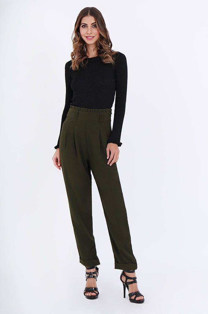 SWE2001-KHAKI PLEAT FRONT PAPERBAG WAIST TROUSERS