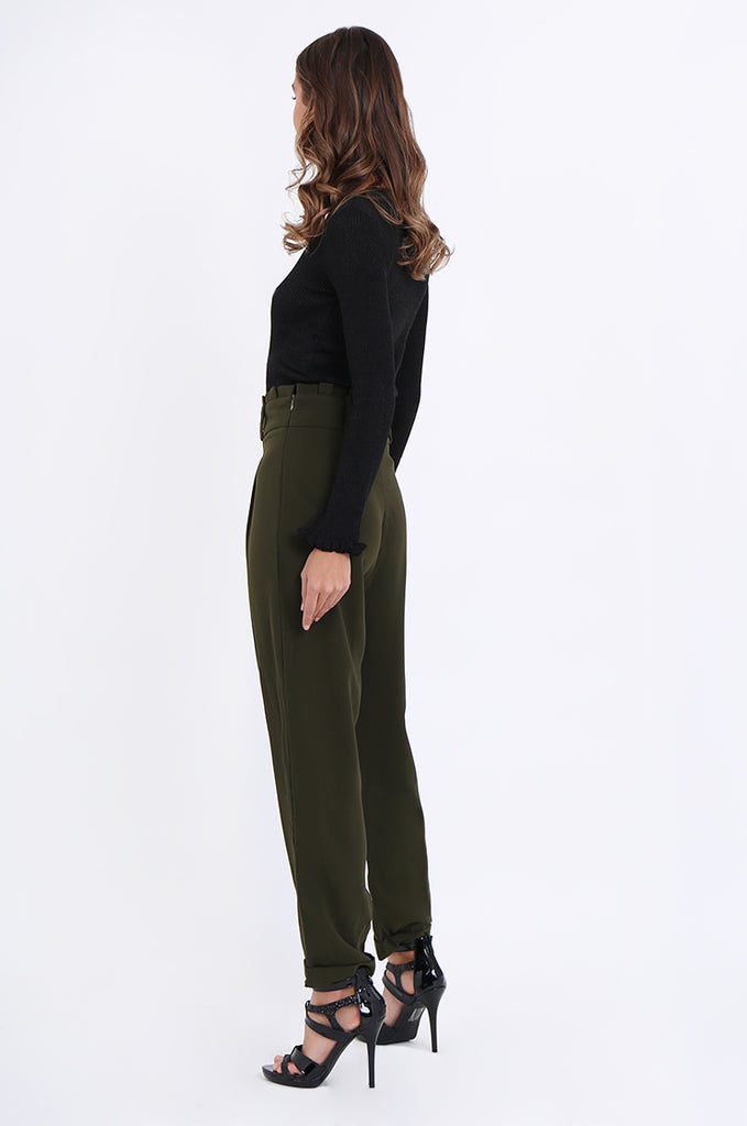 SWE2001-KHAKI PLEAT FRONT PAPERBAG WAIST TROUSERS view 3