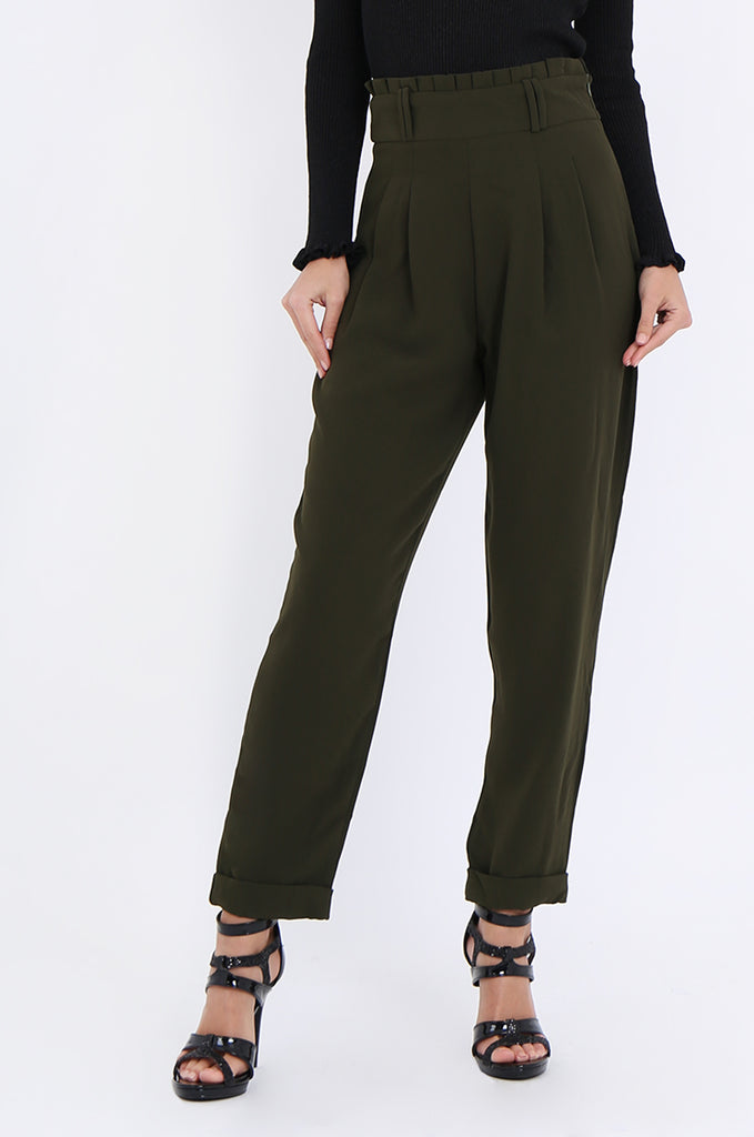 SWE2001-KHAKI PLEAT FRONT PAPERBAG WAIST TROUSERS view 4
