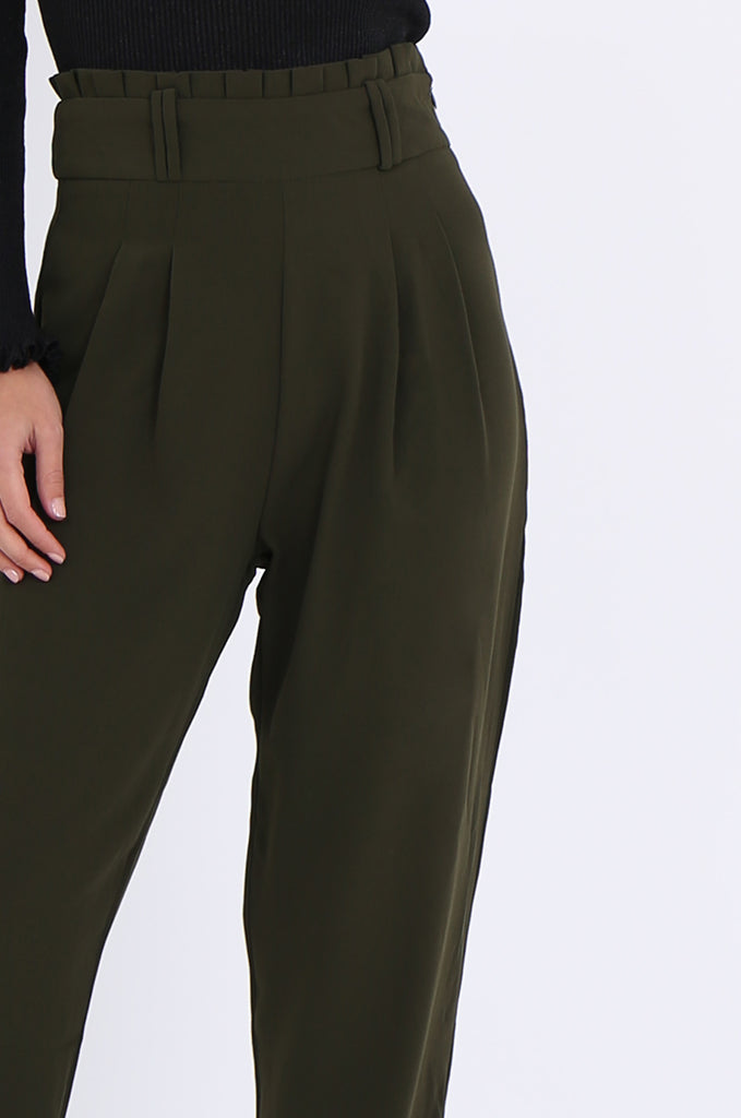 SWE2001-KHAKI PLEAT FRONT PAPERBAG WAIST TROUSERS view 5