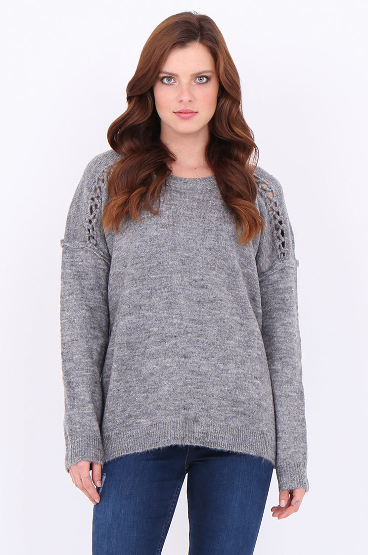 swe2005-grey mohair latice detail jumper - l