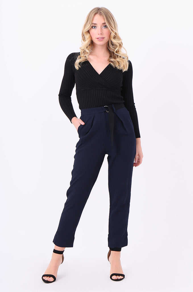 SWE2006-NAVY BELTED PLEAT FRONT TROUSERS