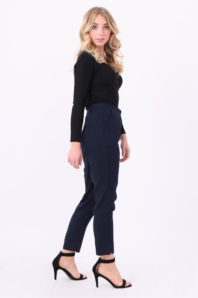 SWE2006-NAVY BELTED PLEAT FRONT TROUSERS view 2