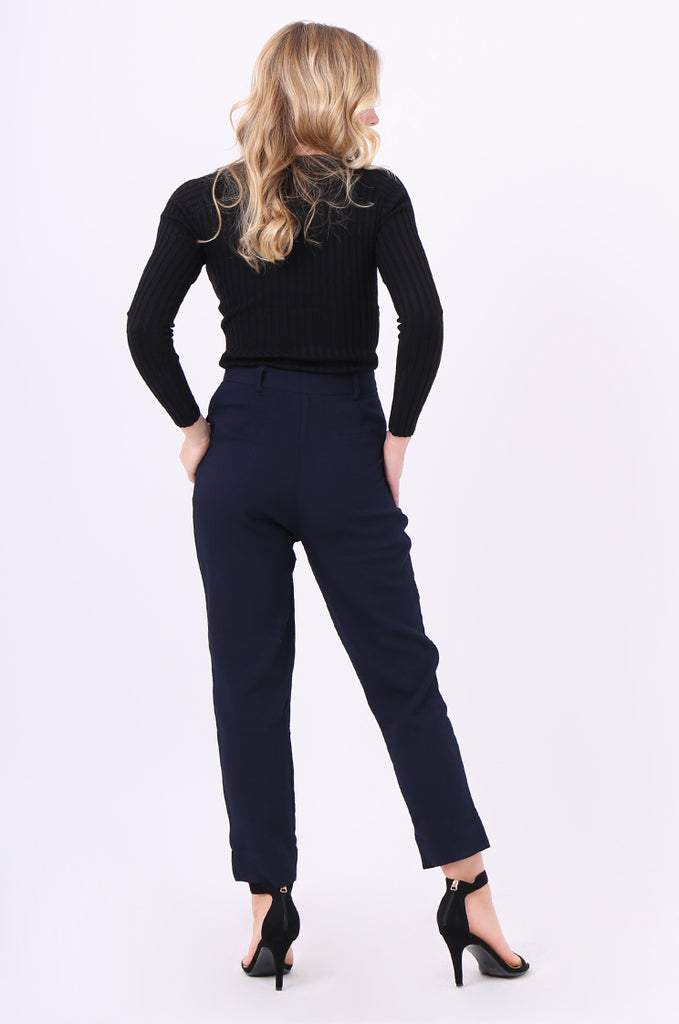 SWE2006-NAVY BELTED PLEAT FRONT TROUSERS view 3
