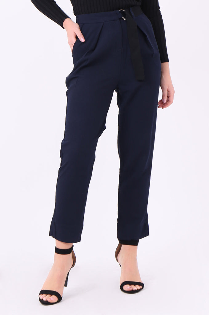 SWE2006-NAVY BELTED PLEAT FRONT TROUSERS view 4
