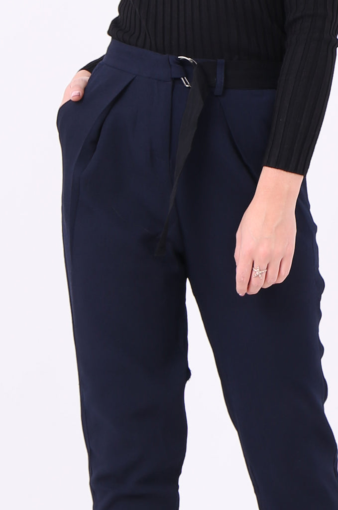 SWE2006-NAVY BELTED PLEAT FRONT TROUSERS view 5