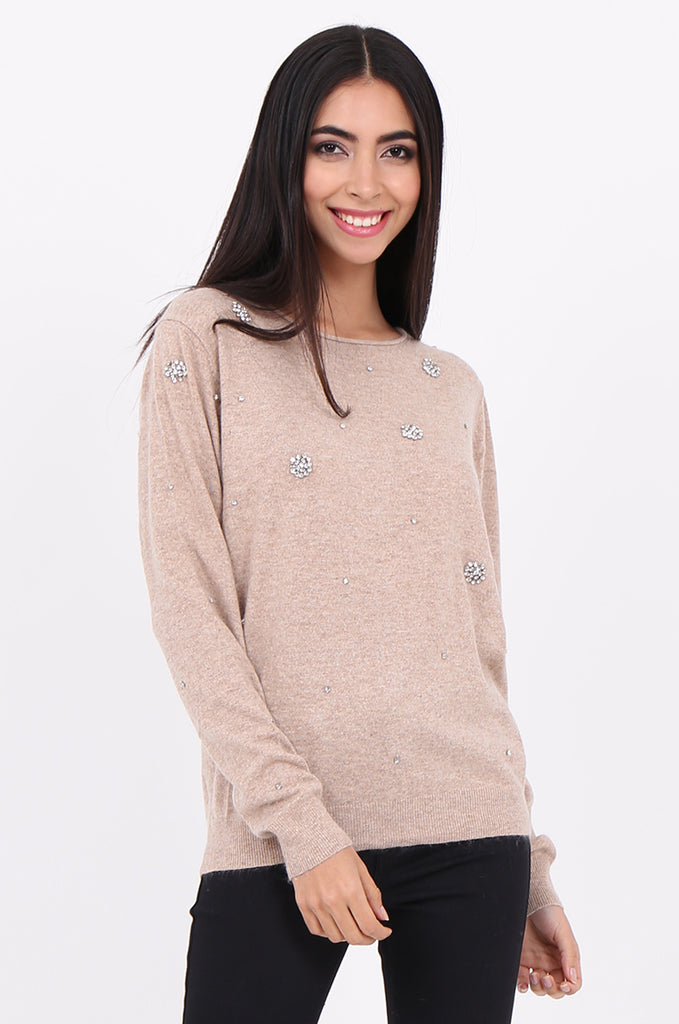 SWE2092-BEIGE DIAMANTE EMBELLISHED BOAT NECK JUMPER view main view