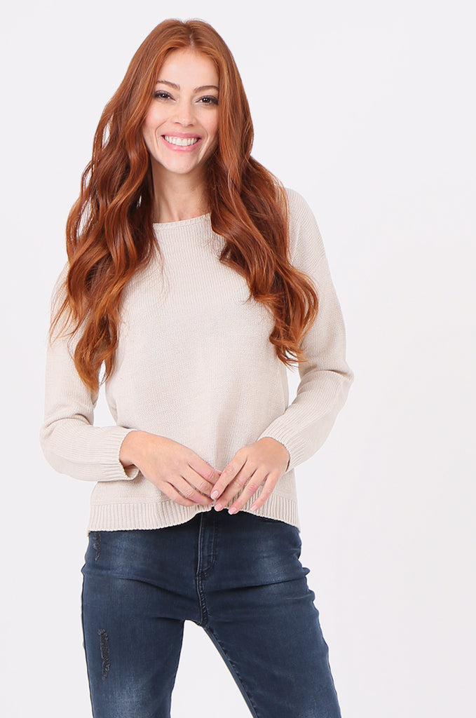 SWF2286-STONE ROUND NECK RIB KNIT JUMPER view main view