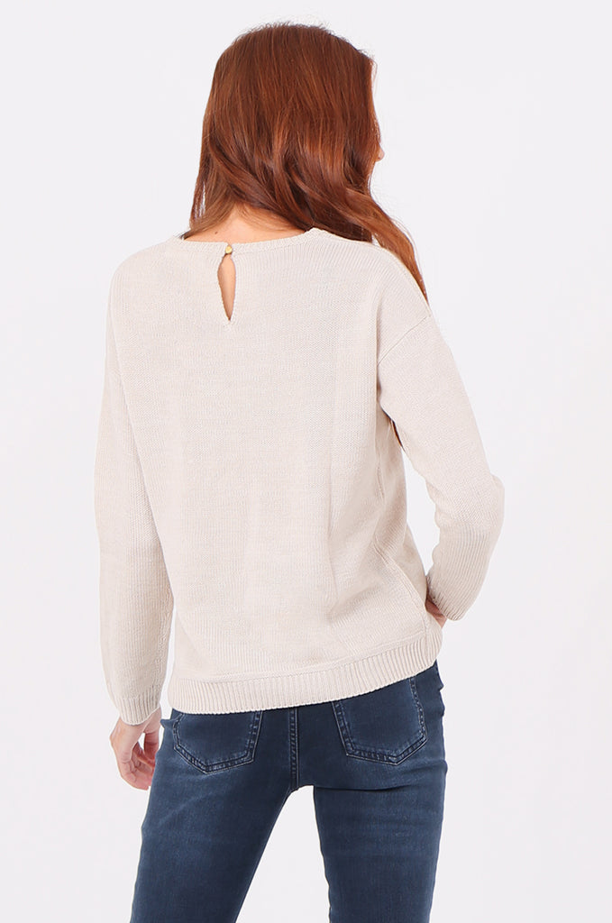 SWF2286-STONE ROUND NECK RIB KNIT JUMPER view 3