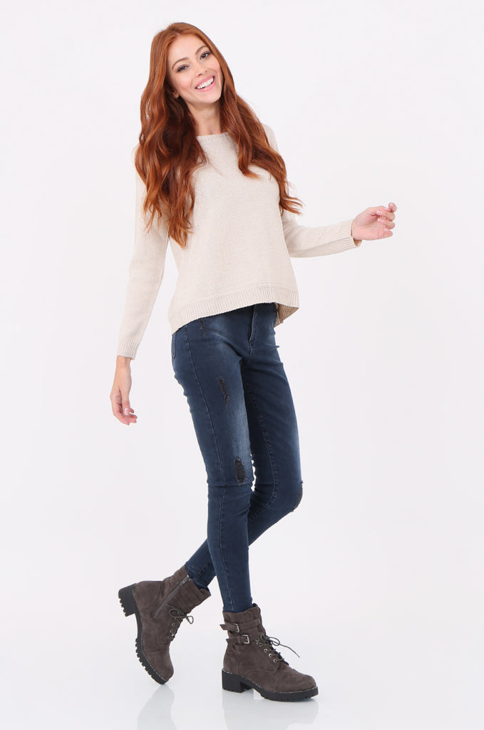 SWF2286-STONE ROUND NECK RIB KNIT JUMPER view 4