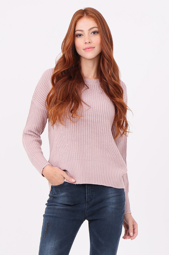 SWF2288-LILAC RIB KNIT ROUND NECK JUMPER view main view
