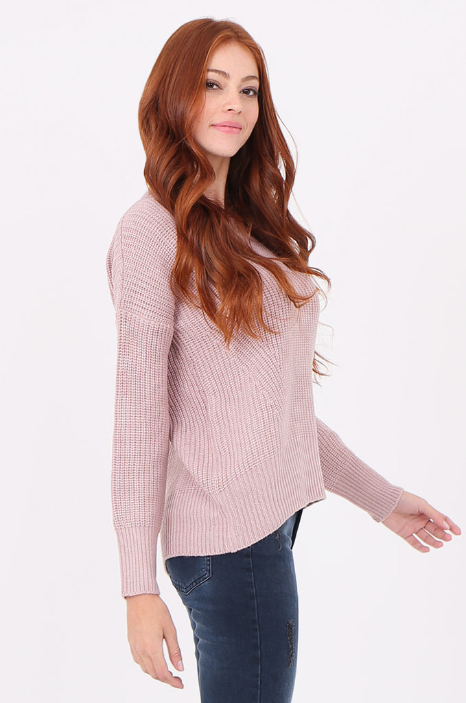 SWF2288-LILAC RIB KNIT ROUND NECK JUMPER view 2