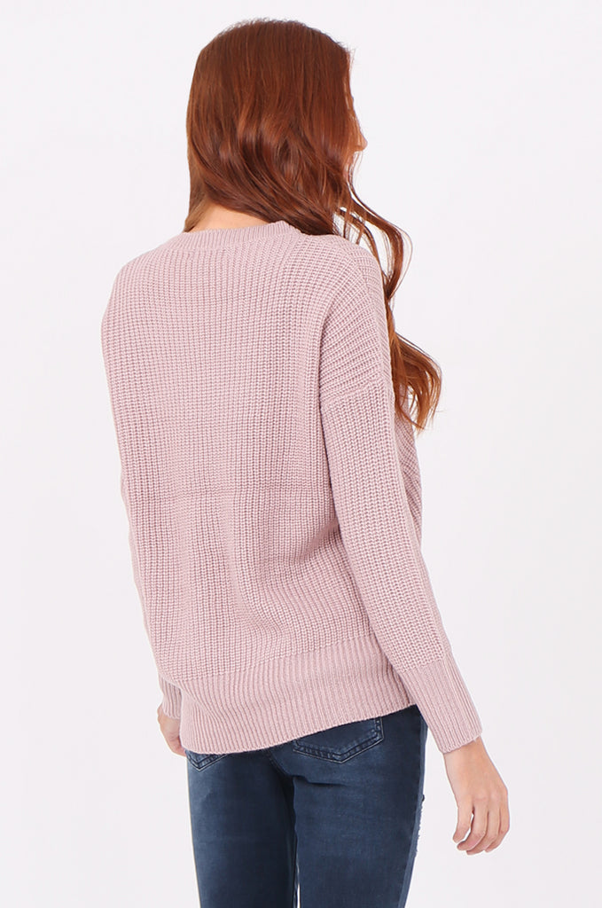 SWF2288-LILAC RIB KNIT ROUND NECK JUMPER view 3