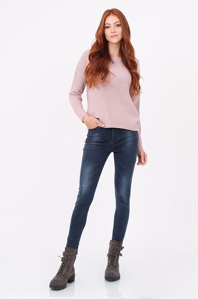SWF2288-LILAC RIB KNIT ROUND NECK JUMPER view 4
