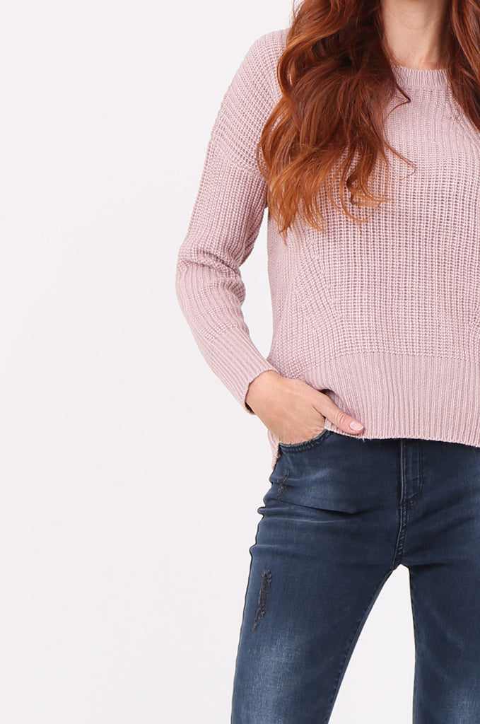 SWF2288-LILAC RIB KNIT ROUND NECK JUMPER view 5