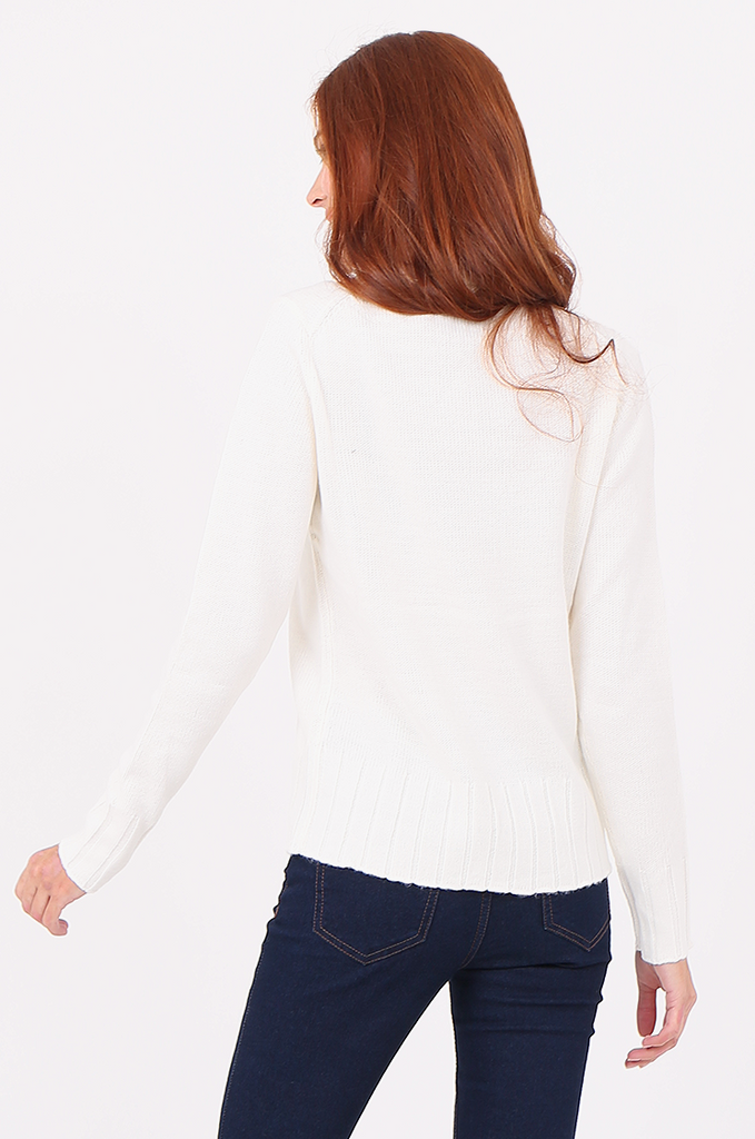 SWF2287-CREAM RIBBED TURTLENECK JUMPER view 3