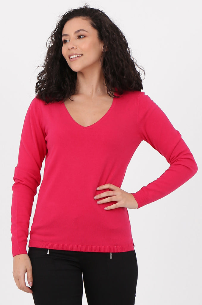 SWF2581-PINK V-NECK FINE GAUGE SWEATER