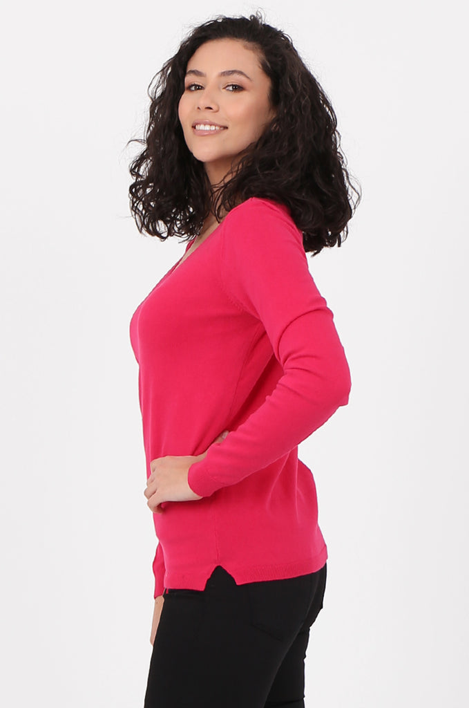 SWF2581-PINK V-NECK FINE GAUGE SWEATER view 2