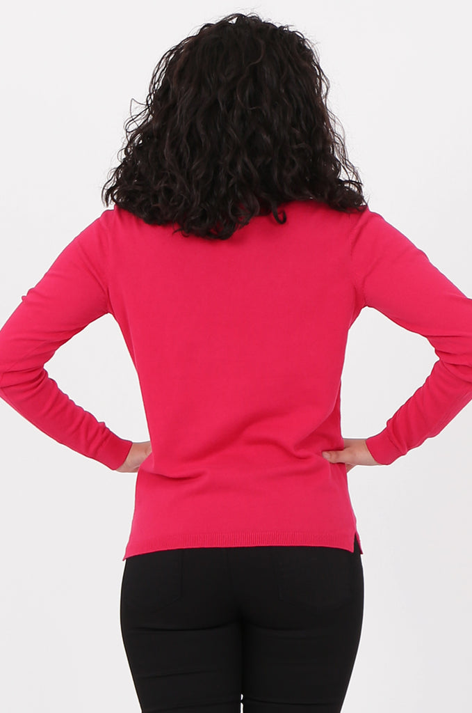 SWF2581-PINK V-NECK FINE GAUGE SWEATER view 3
