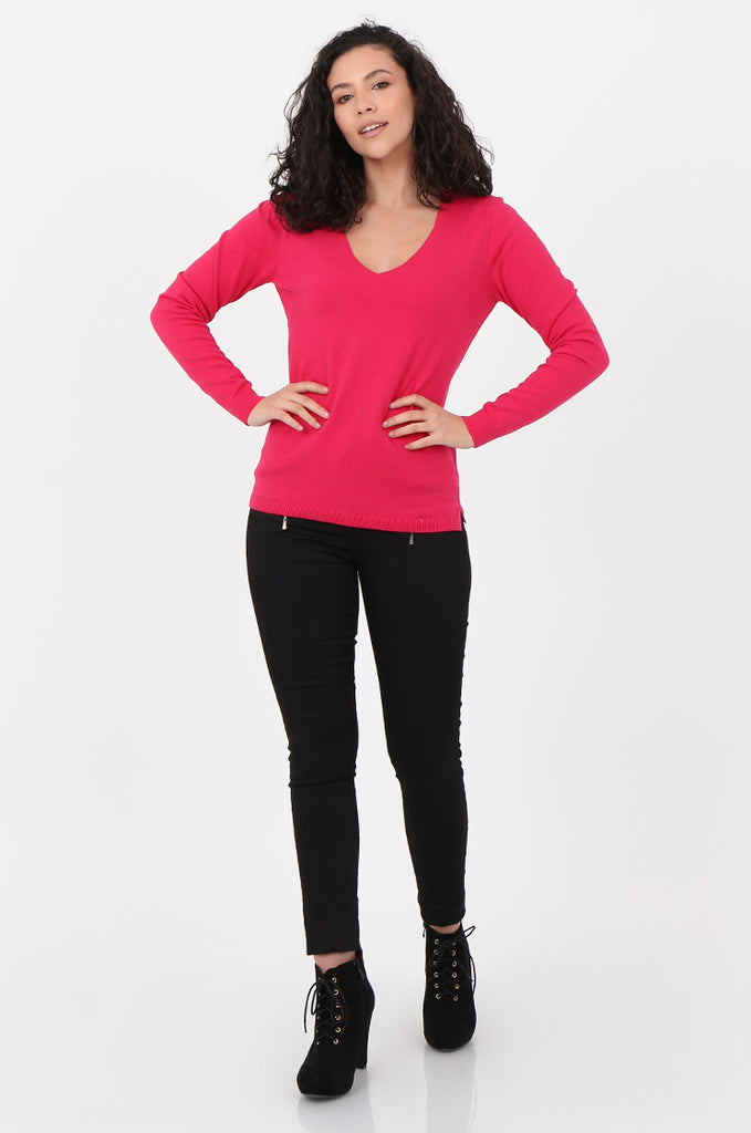 SWF2581-PINK V-NECK FINE GAUGE SWEATER view 4
