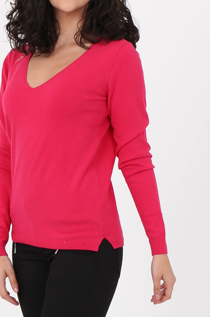 SWF2581-PINK V-NECK FINE GAUGE SWEATER view 5