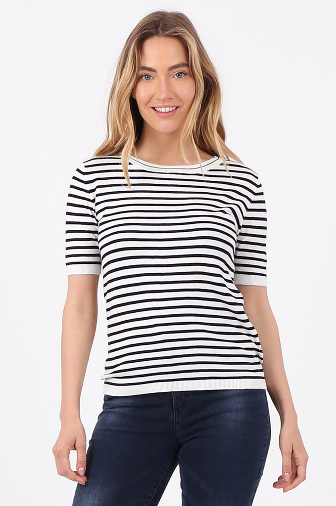 SWF2643-BLACK SHORT SLEEVE STRIPED KNIT TOP