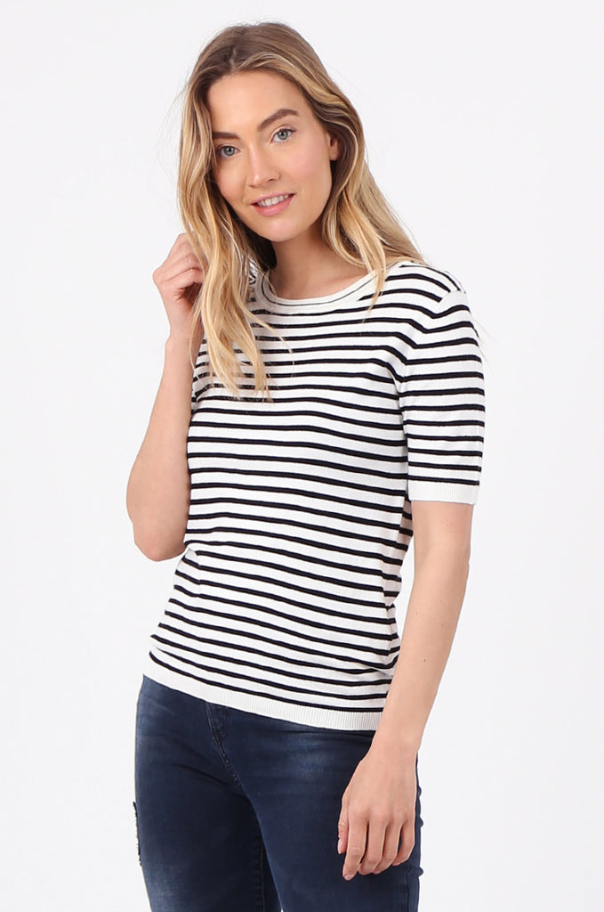 SWF2643-BLACK SHORT SLEEVE STRIPED KNIT TOP view 2