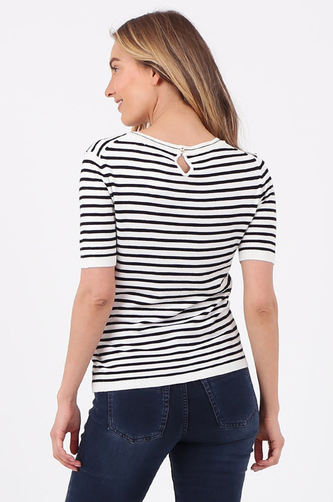 SWF2643-BLACK SHORT SLEEVE STRIPED KNIT TOP view 3